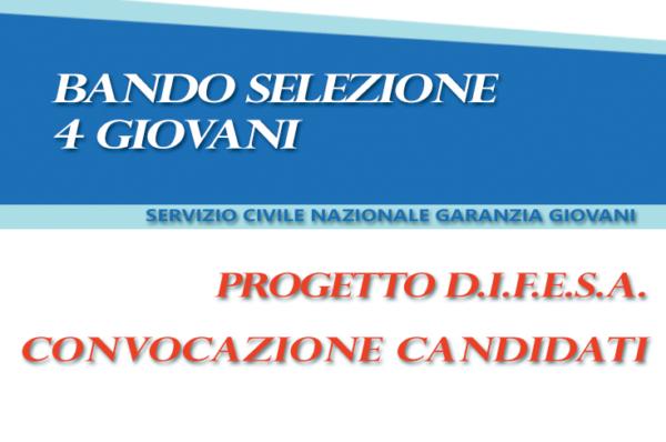 SERVIZIO CIVILE NAZIONALE GARANZIA GIOVANI – CONVOCAZIONE SELEZIONI